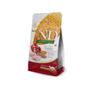 N&D Ancestral Grain Neutered con Pollo, Farro, Avena e Melograno Farmina